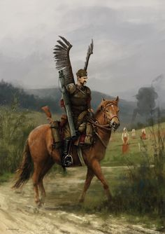 so, first unofficial sneak peek from 'Scythe' card illustration - polish winged hussars lieutenant :)