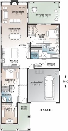 Rustic Home Plan First Floor Plan 3 Bedroom Home Floor Plans, Bungalow Floor Plans, House Floor Plans, Large Floor Plans, Narrow Lot House Plans, Garage House Plans, House Plans And More, Car Garage, Rustic House Plans