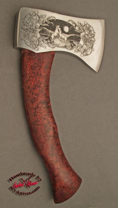 Ax engraved with horses Birch Handle Ax head: 130x78 mm Handle: 210x32mm