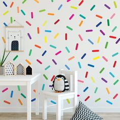 Rainbow Sprinkles Wall Stickers Confetti Wall Decals Sprinkle Wall Decals Rainbow Nursery Decals Eco Friendly Removable Wall Stickers - Wall Dressed Up Alphabet Wall Decals, Kids Room Wall Decals, Polka Dot Wall Decals, Nursery Wall Decals, Removable Wall Stickers, Flower Wall Stickers, Diy Stickers, Rainbow Wall Decal, Confetti Wall