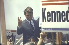 Presidential contender Bobby Kennedy campaigning.