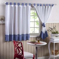Kitchen window can face light, heat, or direct rain. Besides that, we need style our kitchen window. Of course, kitchen curtain ideas is the best treatment. Cute Curtains, Colorful Curtains, Hanging Curtains, Drapes Curtains, Kitchen Curtain Designs, Kitchen Curtains, Kitchen Windows, Curtain Patterns, Curtain Ideas