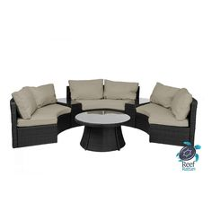 Reef Rattan Half-Moon 6 Pc Curved Bench Sofa Set - Black Rattan / Taupe Cushions 16670954-BL-404 - Join the Pricefalls family - Pricefalls.com Online Marketplace & Stores