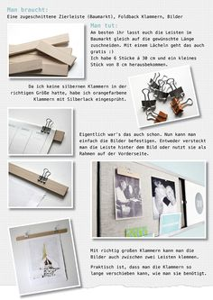 Ynas Design Blog: DIY Bilderhalter   Leisten und Klammern