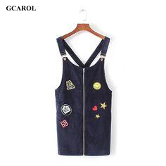 GCAROL Women Euro Style Patch Badge Denim Dress Fashion Preppy Style Straps Jeans Dress Zipper UP Dress For 4 Season