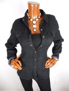 CHICO'S Sz 2 Womens M L Top Black Button Down Blouse Casual Shirt Long Sleeves #Chicos #Blouse #Casual