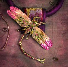 Purple Silk Necklace with Rhinestone Dragonfly by gretchenschields