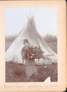 Collection Name:William E. Irwin Photographic Collection  Creator:Irwin, William E.  Title:Apache Squaw Preparing for Winter [Apache women gathering wood by tipi]  Date:1899 ca.  Publisher:William E. Irwin  Place:Chickasha, IT  Physical Description:Photograph, b, 5.5x3.75 in.  Notes:Photo is glued into Irwin portfolio album