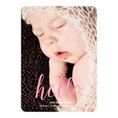 Scripted Hello Modern Custom Birth Announcement #baby #birthannouncements #announcements #stationery #parenting