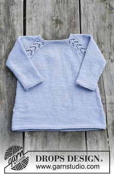 Tunika med raglan og hulmønster, strikket ovenfra og ned til børn. Størrelse 2 - 12 år. Arbejdet er strikket i DROPS Karisma