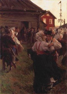 Midsummer dance Anders Zorn (Swedish, Impressionism, Oil on canvas. Zorn painted in June and part of July. He had just given Morkarlby a new maypole. Oil Canvas, Canvas Prints, Canvas Art, Circle Film, Pierre Auguste Cot, Jean Leon, Nordic Art, Saint Jean, Summer Solstice
