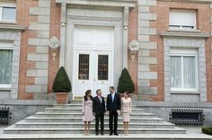 King Felipe VI of Spain (2R) and Queen Letizia of Spain (R) receive Argentina's President Mauricio Macri (2L) and wife Juliana Awada (L) for an official lunch at the at Zarzuela Palace on February 22, 2017 in Madrid, Spain.