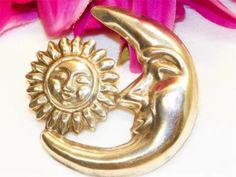 Vintage Taxco sun and moon Sterling brooch
