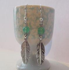 Silver feather and jade earrings from Silver Moon Handmade Jewellery & Art by DaWanda.com