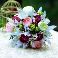 Hand Bukett Lilje Peon Brude Holde Bryllup Blomster