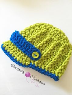 Newborn brim hat.. Lime green and blue.. Newsboy hat.. Photo prop.. Ready to ship by FaithfullyCrocheting on Etsy https://www.etsy.com/listing/252584999/newborn-brim-hat-lime-green-and-blue