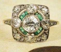 FINE-ANTIQUE-ENGLISH-ART-DECO-18K-GOLD-PLATINUM-DIAMOND-EMERALD-CLUSTER-RING-1CT