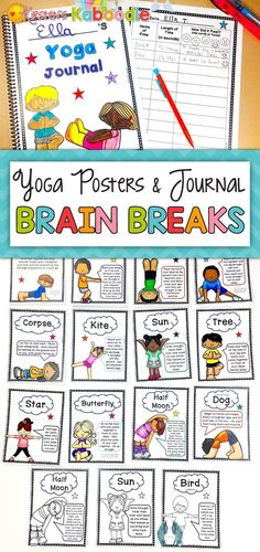 Yoga Cards for Kids | Yoga Pose Cards | Printable Yoga Cards Distance Learning Do your kids need yoga posters for brain breaks? These yoga posters, yoga book list, and yoga journal are for students in Kindergarten through 5th grade. This product includes 14 full-color yoga poses (name of yoga pose, yoga image, and explanation), 14 yoga blackline posters (same as color yoga posters), a kid's picture book list, and a journal (a cover as well as one page that can be copied multiple times for… Yoga Poses Names, Kids Yoga Poses, Yoga For Kids, 2nd Grade Activities, Restorative Yoga Poses, Yoga Images, Yoga Posters, Yoga Books, Health Psychology