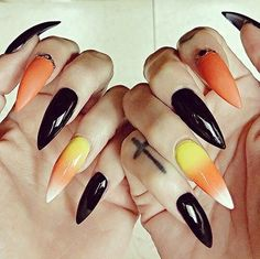 Candy Corn | 20 + Spooky Nail Art Ideas for Halloween