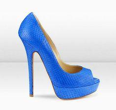 Jimmy Choo | Matt Elaphe Snakeskin Platform Pumps Blue | Junior Heels