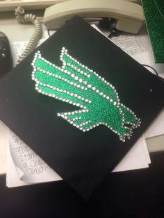 My graduation cap is complete! #UNT #meangreen #graduationcap #rhinestones #glitter #sparkle #eagles #green #graduation