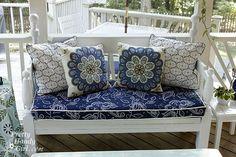 Seat cushion made with shower curtain...fabulous idea!