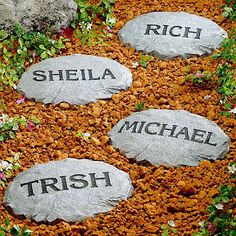 Decorate garden paths with personalized stepping stones memory garden path. Landscape Stepping Stones, Landscaping With Rocks, Backyard Landscaping, Landscaping Ideas, Backyard Ideas, Outdoor Ideas, Ponds Backyard, Outdoor Stuff, Outdoor Projects