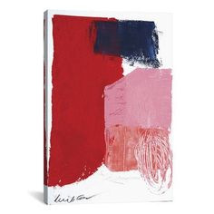 """Brayden Studio Red Black and Pink Painting Print on Wrapped Canvas Size: 40"""" H x 26"""" W x 0.75"""" D"""
