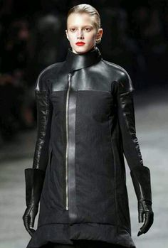 I like the leather detailing on this design. It brings to mind imagery of a morbid lifestyle. Rick Owens, Cold Weather, Motorcycle Jacket, Bring It On, Leather Jacket, Lifestyle, Jackets, Fashion Ideas, Coats