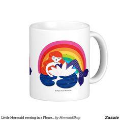 Little Mermaid resting in a Flower. Classic White Coffee Mug
