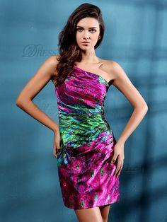 VILAVI Sheath/Column One shoulder Short/Mini Print Cocktail Dresses, Cocktail Dresses