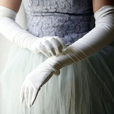 Long white gloves and a vintage blue lace dress with tulle.... loveliness!