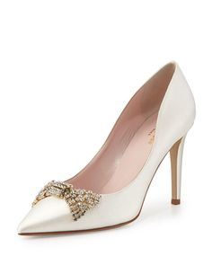kate spade new york pezz satin crystal bridal pump, ivory and other apparel, accessories and trends. Browse and shop 8 related looks. Satin Pumps, Pumps Heels, Kate Spade Bridal Shoes, Designer Wedding Shoes, Designer Shoes, Designer Purses, Designer Clothing, Silver Wedding Shoes, Ivory Wedding