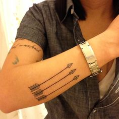 Three Arrows On Arm http://tattoos-ideas.net/three-arrows-on-arm/ Arm Tattoos, Arrow Tattoos, Black Ink