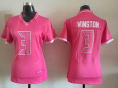 Women Nike Tampa Bay Buccaneers #3 Jameis Winston Pink Game Bubble Gum Jersey $ 22.5