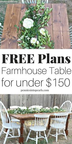 A step-by-step tutorial on how to build a farmhouse table fo Backyard Furniture, Diy Furniture Projects, Diy Home Decor Projects, Custom Furniture, Decor Ideas, Furniture Online, House Projects, Discount Furniture, Wood Projects