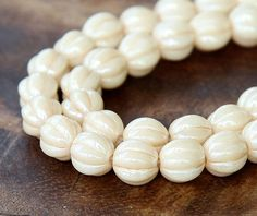Opaque Champagne Luster Czech Glass Beads 8mm Melon 25 pcs