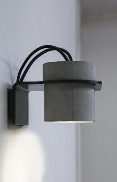 Concrete lamp, concrete wall light, wall sconce light, INTO nightlight chandelier Concrete Furniture, Concrete Projects, Furniture Design, Kid Furniture, Plywood Furniture, Modern Furniture, Concrete Light, Concrete Lamp, Wall Sconce Lighting