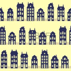 Holland houses silhouettes seamless pattern Stock Vector