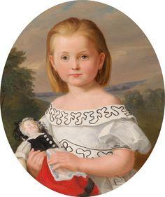 German School, 19th Century Girl with Doll , 1867.Jpeg