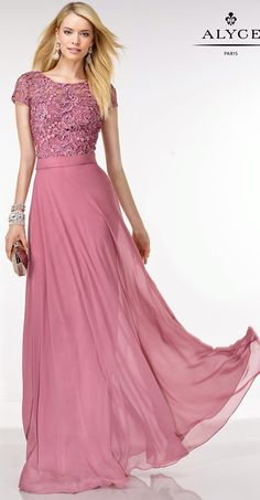 Evening Dresses Bridal Dresses by Black Label for Alyce<BR>5733<BR>Short sleeve full length dress with lace bodice, and flowy soft chiffon skirt.