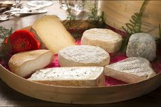 Cheeseboard of France, Normandy Camembert, Tomme de Savoie, Goat Cheese, Bleu d'Auvergne, France, Europe.