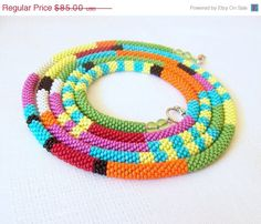 CHRISTMAS SALE Long Beaded Crochet Rope Necklace - Beadwork - Seed beads jewelry - African style necklace - Elegant - Geometric  - Colorful