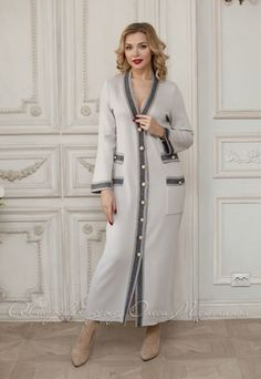 Elegant long cardigan with buttons by Olesya Masyutina. knitted grey cardigan, long sleeves, ankle length cardigan, women cardigan. 900 models of women knitted and fabric dresses and suits for every day, evening and wedding