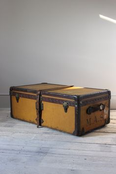 Leather Trunks & Luggage - Circa Louis Vuitton Vuittonite steamer trunk, with its original tray. Old Luggage, Luggage Bags, Home Art, Art Decor, Trunks, Decorative Boxes, Louis Vuitton, Steamer, Antiques