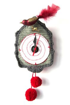 Crochet cuckoo clock...love the idea of this but would surely do a different clock face.