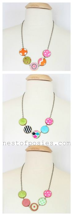 fabric covered button necklaces. you'll be the cutest at work, dinner or play!