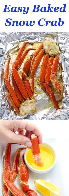 Snow Crab brushed with a garlic butter sauce and seasonings baked in 10 minutes. They come out absolutely perfect every time! #seafoodrecipes