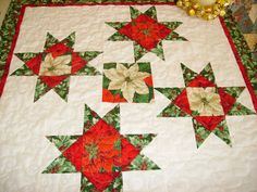 Small Quilt Table Runner Ohio Star Christmas by BearyCozyQuilts