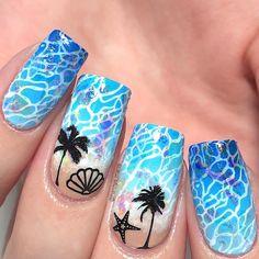 Beach Nail Designs, Blue Nail Designs, Acrylic Nail Designs, Acrylic Nails, Beach Toe Nails, Sea Nails, Beach Nail Art, Blue Nails, Tropical Nail Art
